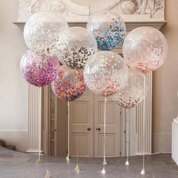 best selling 36 inch Confetti Balloons Giant Clear Latex Balloons Wedding Party Decorations Birthday Party Baby Shower Supply Air Balloons
