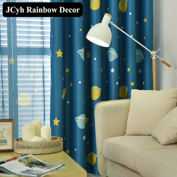 2019 Cartoon Planet Star Blackout Curtains For Kids Room Printed Curtains  For Boys Bedroom Baby Room Window Drapes Blue Sheer Voile From Miniatur, ...