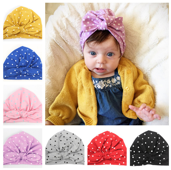 Lindo recién nacidos punto de la onda Bowknot Cap niñas bebé fotografía Turbante Caps accesorios niños orejas de conejo gorro LE14