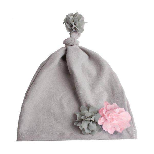 Grey Flower baby hat