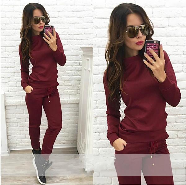 capucha chándal traje jersey mujeres Casual largo conjunto con colores mujer superior trajes Sweatshirtpants 2 sudaderas qwCn0z5p