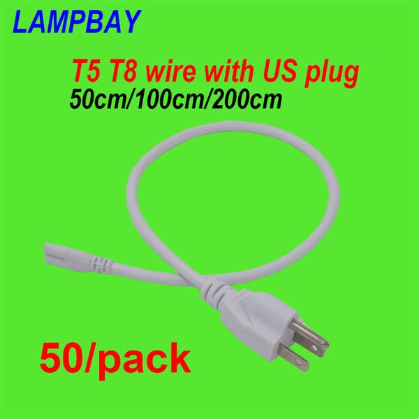 50 pack u plug cable 50cm 100cm 200cm wire u ed for t5 t8 integrated tube light