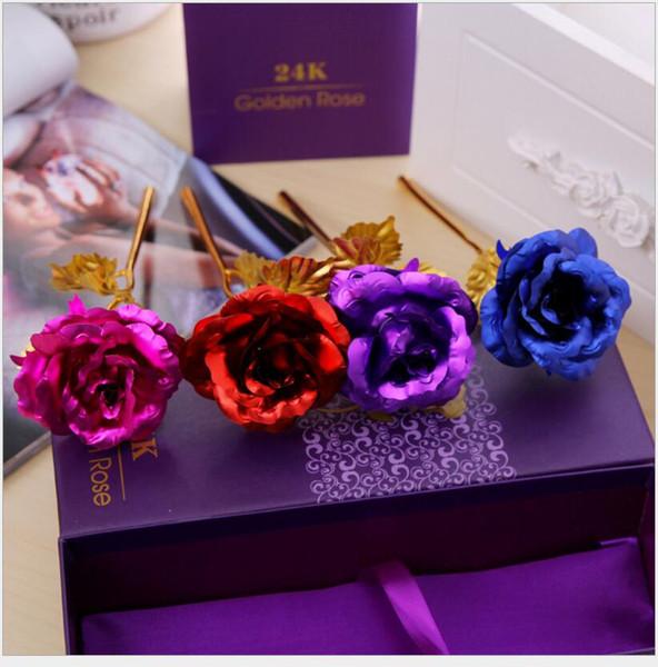 2018 amant fleurs 24 k or rose décoration de mariage fleur d'or romantique Saint Valentin décorations cadeau or rose parti fleurs