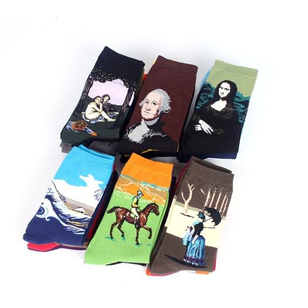 Hot Dropshipping Men Socks Autumn winter Retro Women New Art Van Gogh Mural World Famous Oil Painting Series Men Funny Socks