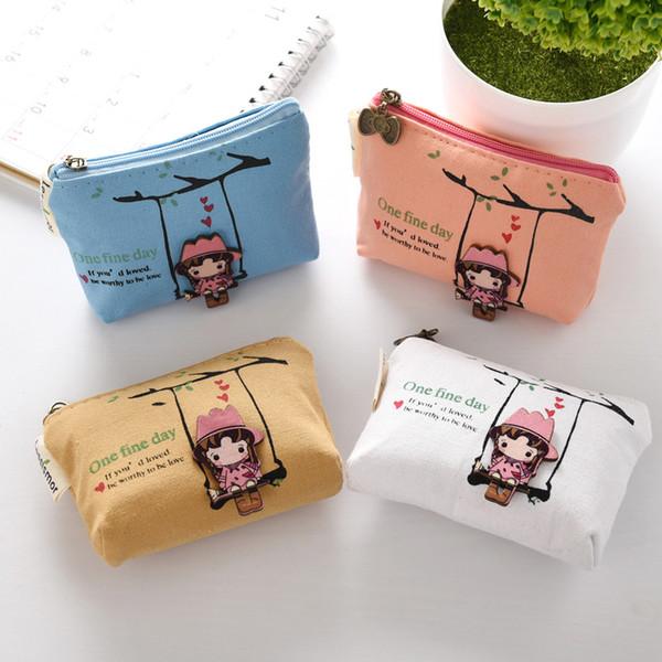 Creative cartoon swing girl coin zero purse canvas girl zero purse key bag