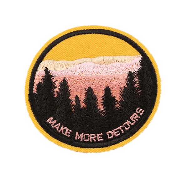 7CM Embroidery Patch Forest Make More Detours Sew Iron On Patches Embroidered Badges For Bag Jeans Hat T Shirt DIY Appliques Decoration