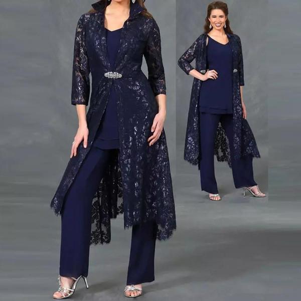 Plus Size Drei Stücke Mutter der Braut Anzüge marineblau V-Ausschnitt Pailletten Spitze knöchellangen Jacke Abendkleid 3/4 Ärmel Damen Outfit