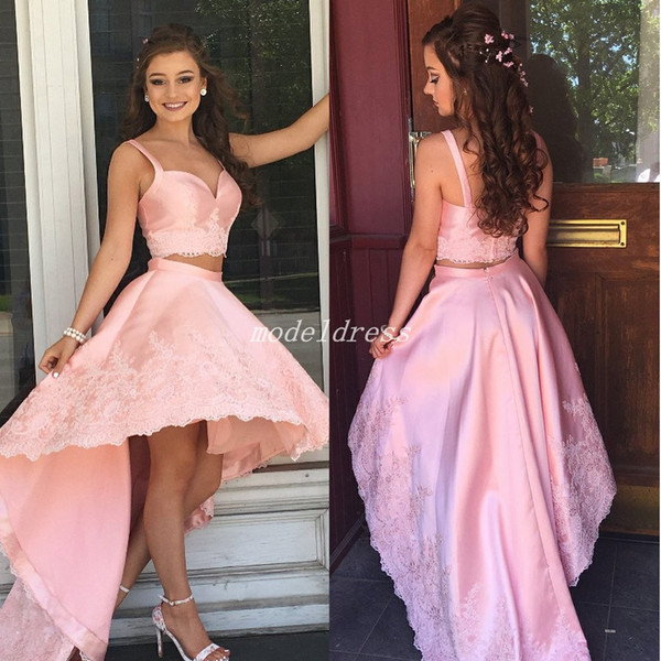 top popular 2018 Pink High Low Cocktail Party Dresses Two Pieces Spaghetti Backless Appliques Formal Prom Party Gowns Homecoming Dress abiti da ballo 2019