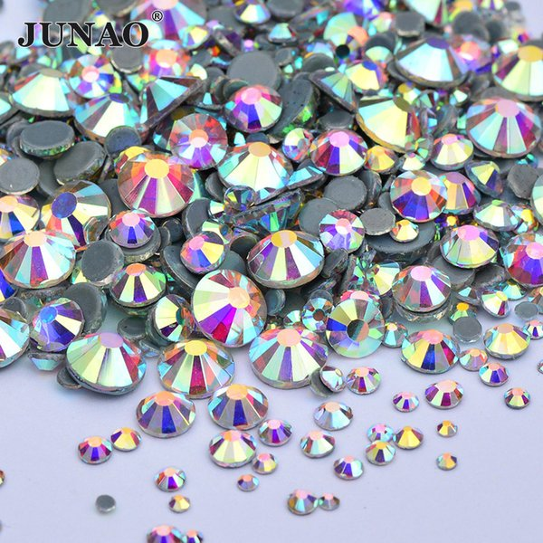 JUNAO 1440pcs Hotfix Mix 8 Size Crystal AB Glass Rhinestones Flatback Hot Fix Crystals Stones Iron On Round Clear Strass For DIY Dress