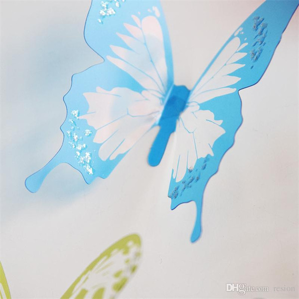 Wholesale Crystal 18Pcs 3D Butterflies DIY home decor wall stickers for kids room Christmas party decoration kitchen refrigerator decal