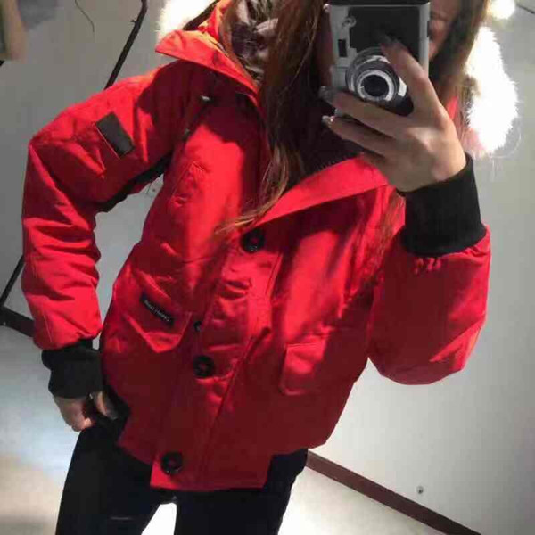Canada wild lady winter short hooded down jacket CG warm and windproof real fur collar classic luxury nylon coat