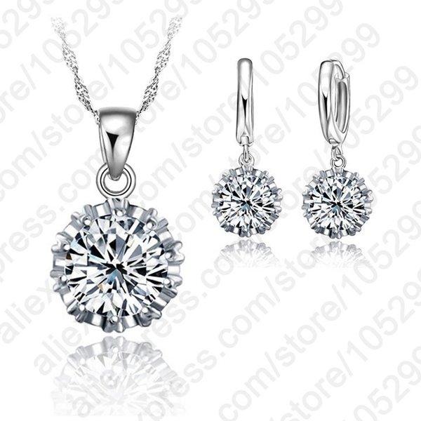 Melhor mais novo design de jóias Define 925 prata esterlina jewelrys de moda do casamento Brincos Colares do frete grátis