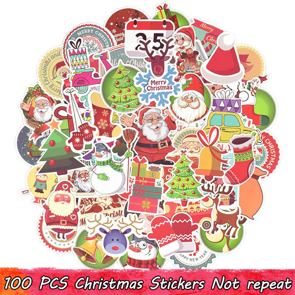 100 PCS Merry Christmas Stickers Christmas Trees Santa Claus Elk Decals for Home Christmas Party Decor Window Snowboard Fridge Kids' Gifts