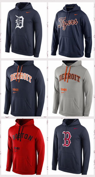 Herren Detroit Tigers Boston Red Sox Navy Logo Leistung Pullover Hoodie
