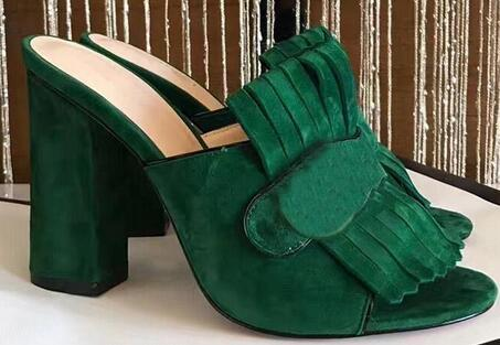 Marca Fringe Borla Sandalias de gladiador Mujer punta abierta Chunky Zapatos de tacón alto Mujer Diseño de marca Muller Shoes