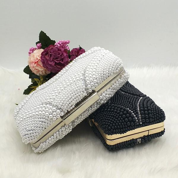 Damen Perlen Braut Hochzeit Brieftasche Geldbörsen Perlen Frauen Abend Party Taschen Kupplungen elegante Geldbörsen Weiß / Schwarz