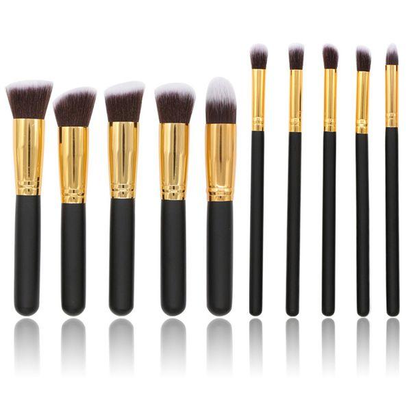 Makeup Brushes Set Professional High Quality 10pcs Makeup Brush 2018 Eyeshadow Foundation Brush Kabuki Set Cheap Gold for Powder