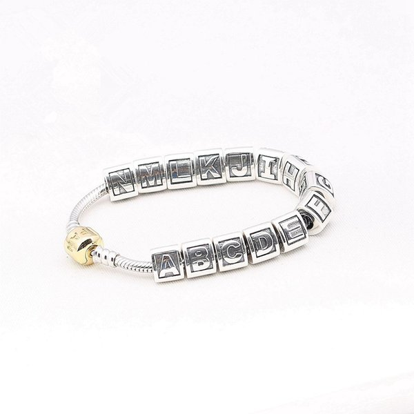Alphabet 26 Letters Triangle Charm Bead 925 Sterling Silver European Retro Style Women Jewelry For Pandora Bracelet Factory Supply