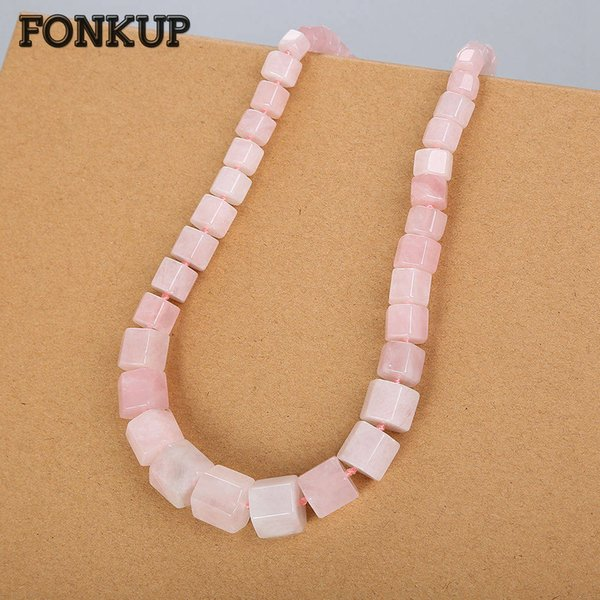 Fonkup Rose Quartz Necklace Geometric Jewellery Hyperbole Women Ornaments Wedding Crystal Pendant Rope Chain Natural Stone Gem