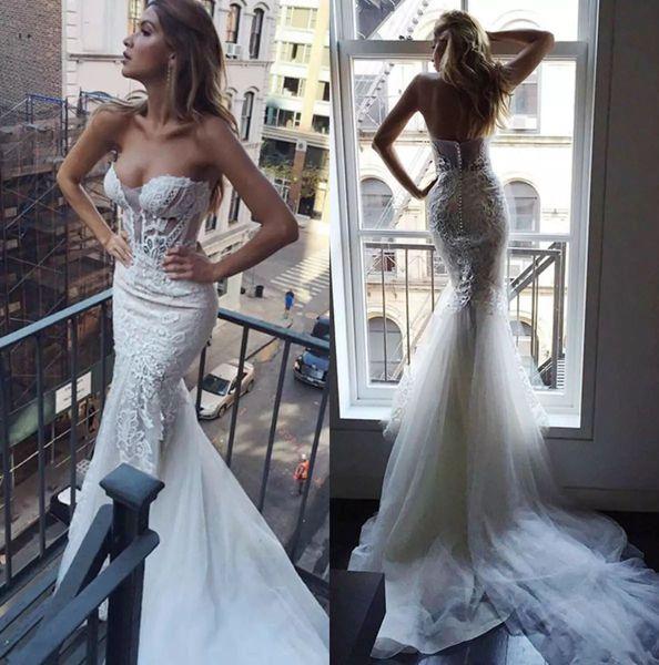 2018 Pallas Couture sirène robes de mariée de plage chérie Backless dentelle Applique Boho robes de mariée longue train robe de mariée bohème