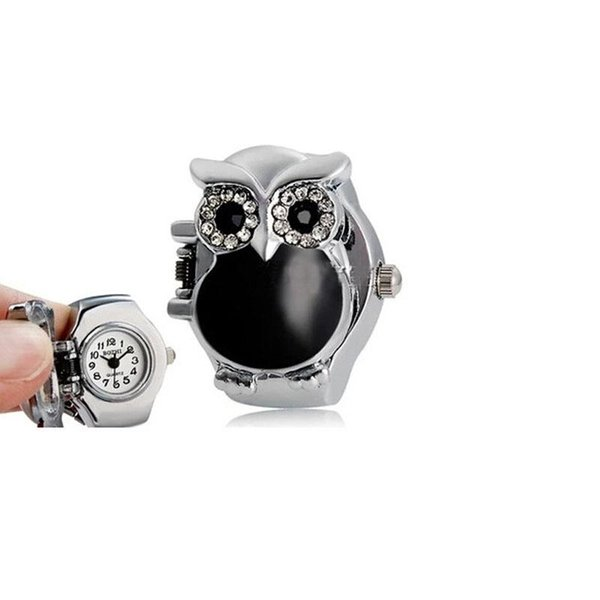 Pocket & Fob Watches Durable Fashion New Hot Creative Fashion Retro Owl Finger Watch Clamshell Ring Watch A15
