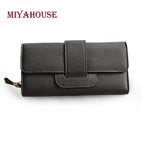 Miyahouse Soild Color Litchi Pattern Purse Lady Fashion Wallet With Hasp Design Luxury England Style Wallet For Women