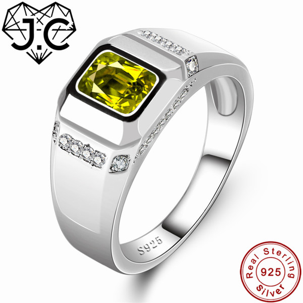 J.C Fine Jewelry Charm Peridot & White Topaz Solid 925 Sterling Silver Ring Size 6 7 8 9 For Women/Men Best Anniversary Gift Y1892607