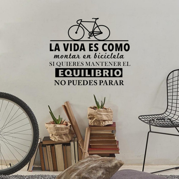 Inspirational Spanish Quotes Life Is Like Riding A Bicycle Art Wall  Stickers Living Room Home Decoration Bedroom Vinyl Decals Removable Wall  Art ...