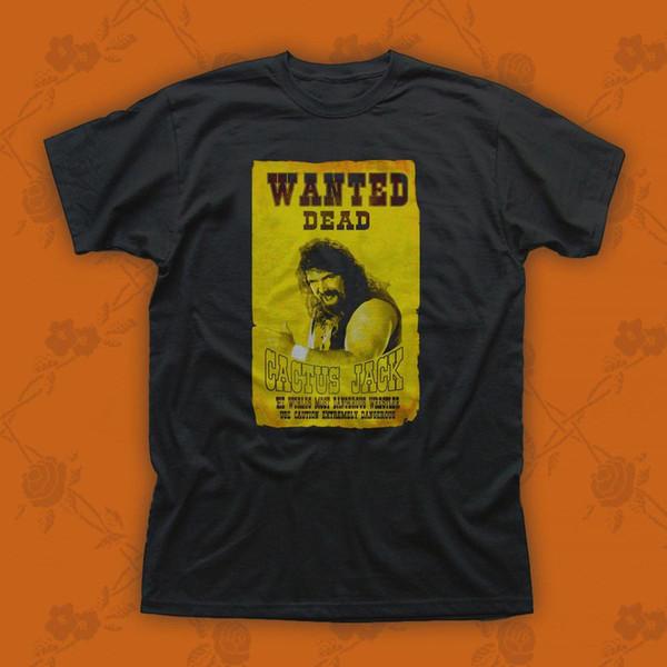 Cactus Jack Mick Foley Yellow Poster Wanted Dead Mens Tanktop T Shirt New