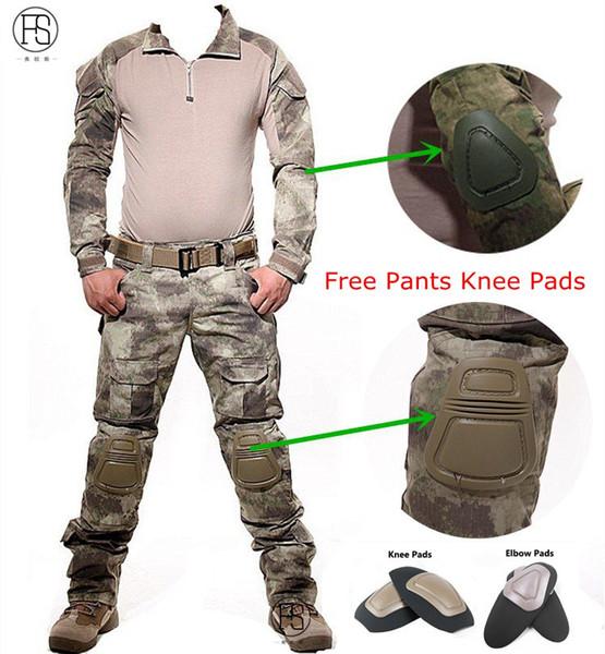 Ensemble de chemise uniforme tactique de camouflage Hommes Militar Multicam Camo Hunt Vêtements Chemise de combat de l'armée + pantalon cargo Genouillères