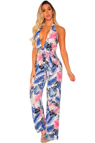 2018 Sexy Ladies Boho Style Rompers Orange Palm Sleeveless Print Halter Belted Jumpsuit Full Length Trousers Women Jumpsuits