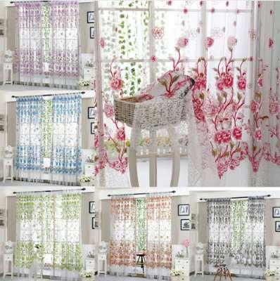 New Fashion Peony Sheer Curtain Tulle Window Treatment Voile Drape Valance 1 Panel Fabric With High Quality Hot Sale#30