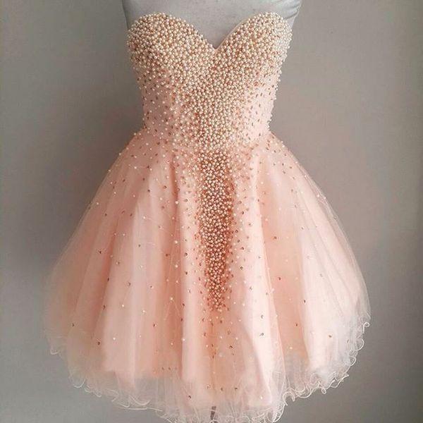 Vestido Para Casamento Pérolas Cor De Rosa Curto Vestidos Homecoming Barato Vestidos De 15 Anos Curto Querida Mini Vestidos De Festa 8ª Série Vestido