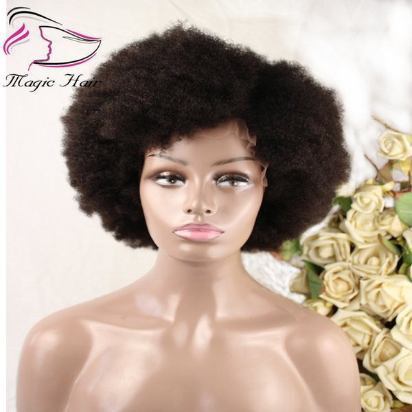 Evermagic hair afro kinky curly wig remy wigs for women black natural afro hair human hair wigs color 2# free shipping