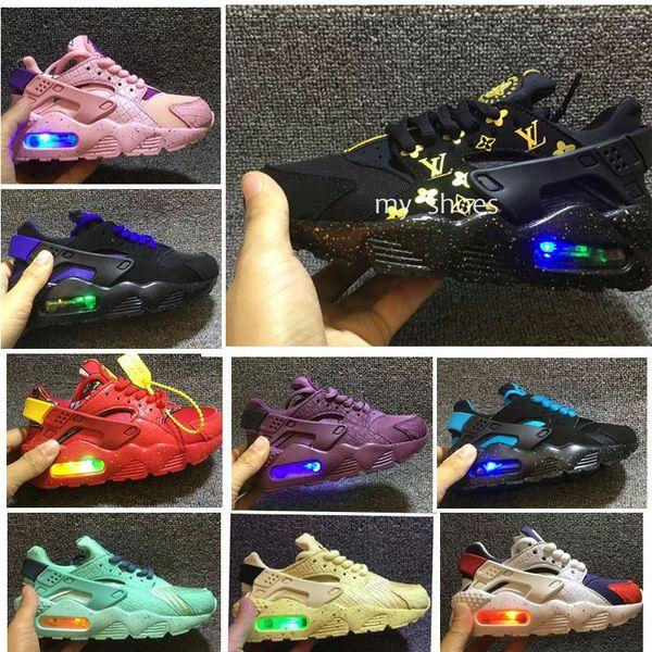 Yeni 2018 hava huarache koşu ayakkabıları Flaş Işığı Huaraches Çocuklar Bebek Erkek Çocuk spor ayakkabı Tenis huarache drift Eğitmenler Çocuk Sneakers