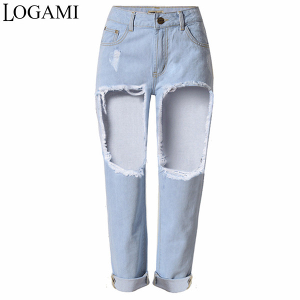LOGAMI New Arrived Big Hole Jeans Mujer Denim Apenado Skinny Pencil Pants Ripped Trousers For Women