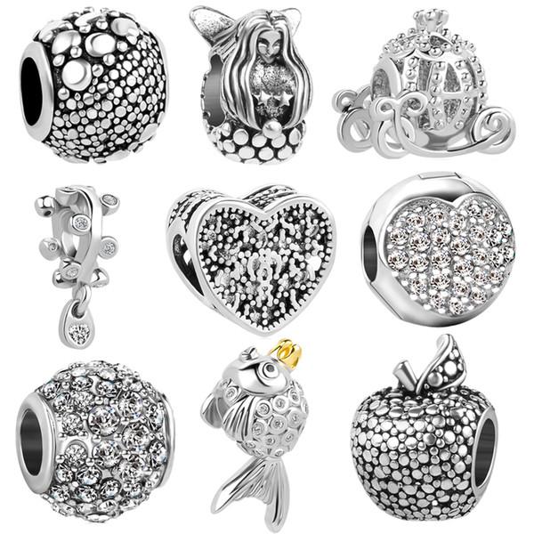 Free Shipping 1pc Europe Silver Mermaid Princess Pumpkin Car charms Beads fit original  charm bracelet jewelry DIY N148