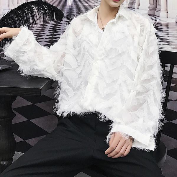 Feather Transparent Shirt Men 2018 New Autumn Men And Women Sexy Shirt For Couple Camicia Uomo See Throug black white