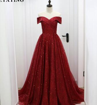 Glitter Sequin Burgundy Dubai Evening Dress 2018 Saudi Arabic Off the Shoulder Formal Dress Elegant Long Party Prom Dresses