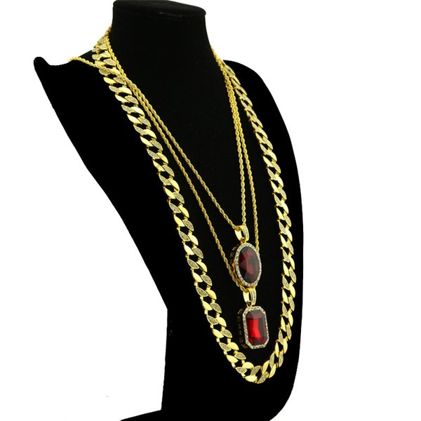 High quality 30inch Cuban Link Chain Necklace Gold Plated Oval Square Pendant Hip Hop Bling Necklace Hot Tennis Jewelry Gift for Women Men's