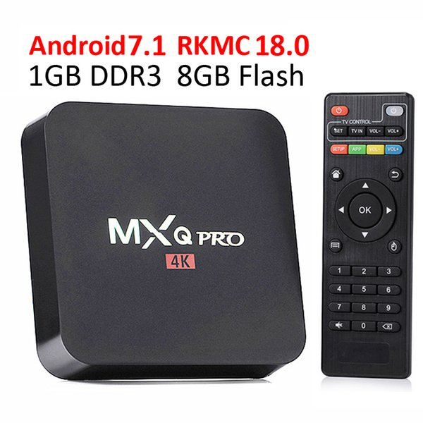 Amlogic S905W MXQ PRO Android TV Box Quad core Smart Android 7.1 4K Media Player 1G8G WiFi add-on 1080P TV Set Top Box 1 PZ Spedizione gratuita