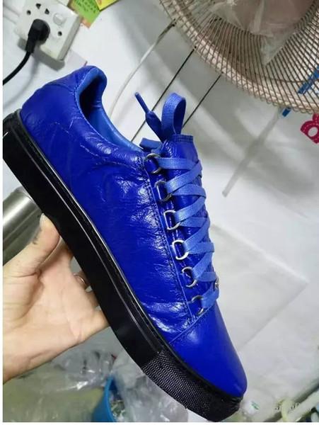 Оригиналы 1.1 Kanye West Man обувь низкая черная Арена морщинистая кожа зашнуровать мужской моды обувь Zapatillas Hombre38-46