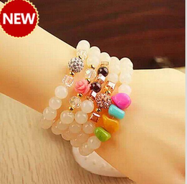 Multi-layer crystal bracelet stones Red agate Rose Quartz Lava Yoga Bracelet Healing Crystals Wrist Mala Beads Chakra Jewelry Natural Stone