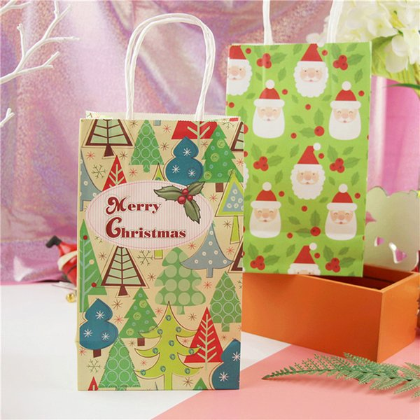 1pc Christmas Paper Handbag Merry Christmas Craft Bag Festival Gift Container New Year Party Decor For Store Bakery 8 Designs