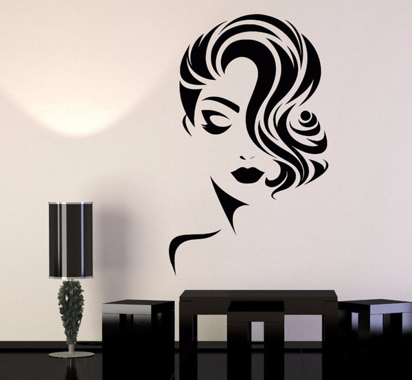 Girl Face Wall Decal Removable Wallpapers for Beauty Salon room decor  Barbershop Wall Vinyl Sticker