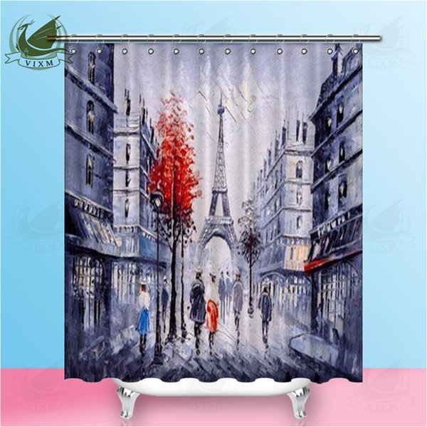 Vixm Paris Street Eiffel Tower Shower Curtains Peacock Oil Painting Style Waterproof Polyester Fabric Curtains For Home Decor