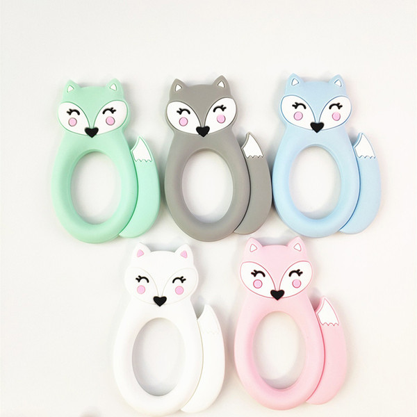 Large Silicone Fox Teether Teething Baby Toys BPA Free Safe Soft Silicone Animal Chew Beads Soothers Nursing Baby Teething Toys