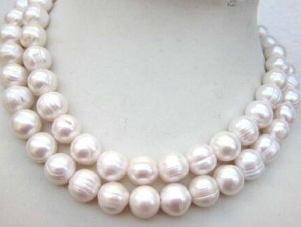 34 12-14mm natural white freshwater breeding thread pearl necklace natural white freshwater breeding thread pearl necklace 14k