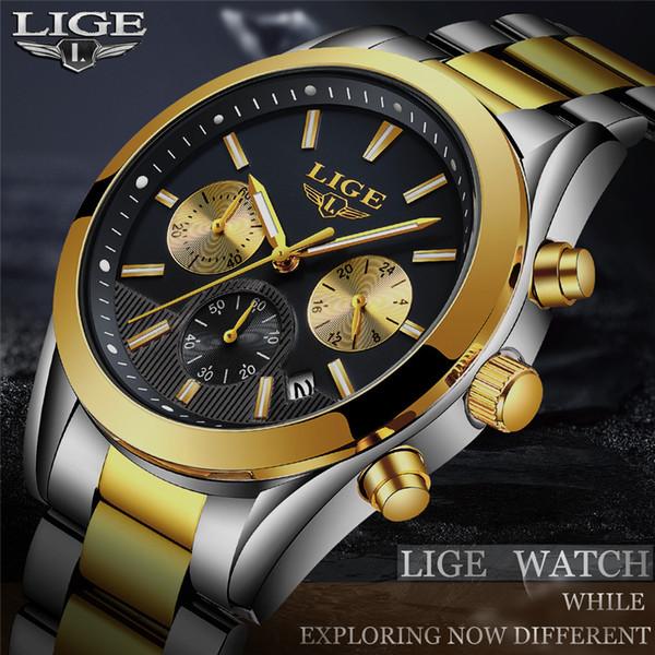2018 NEW LIGE Watch Mens Military Waterproof Top Brand Watches Stainless Steel Quartz Clock Man Full Steel Wrist Watch relogio 72