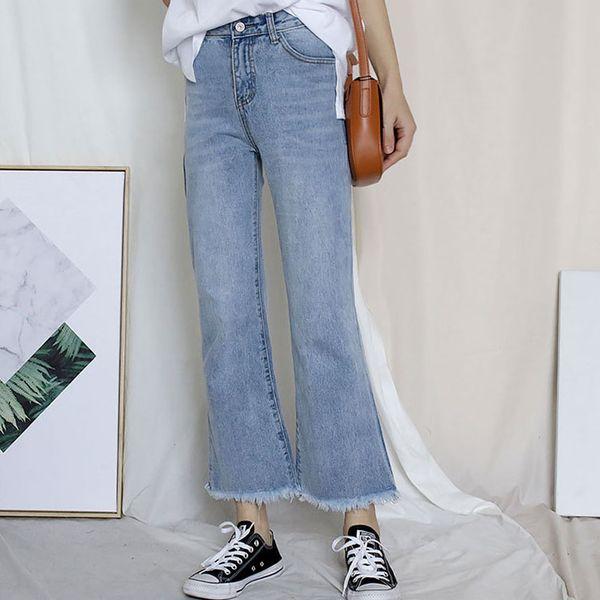 ce1f1c6ec77 2018 autumn new leisure jeans, women's loose waist waist pants, Korean  straight pants fashion